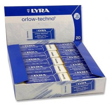 20 x LYRA ORLOW-TECHNO PLASTIC RUBBER ERASER - Box Set